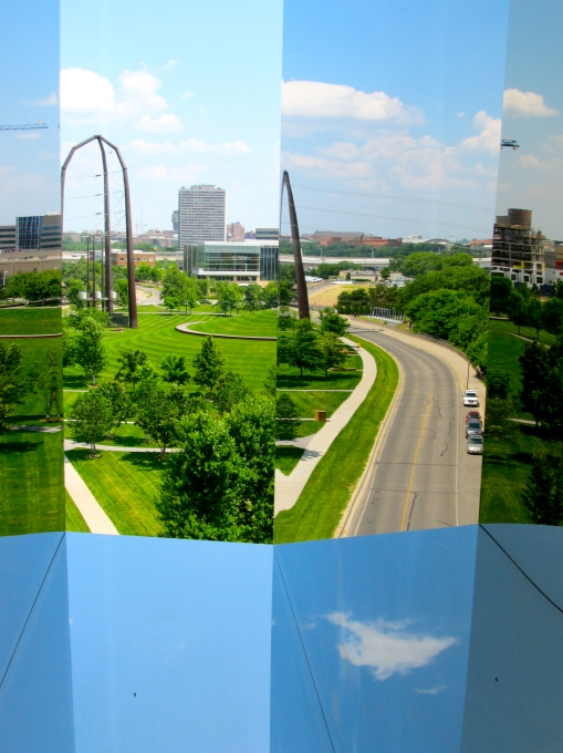 Strange mirrored reflections in window, on the Endless Bridge, The Guthrie Theater