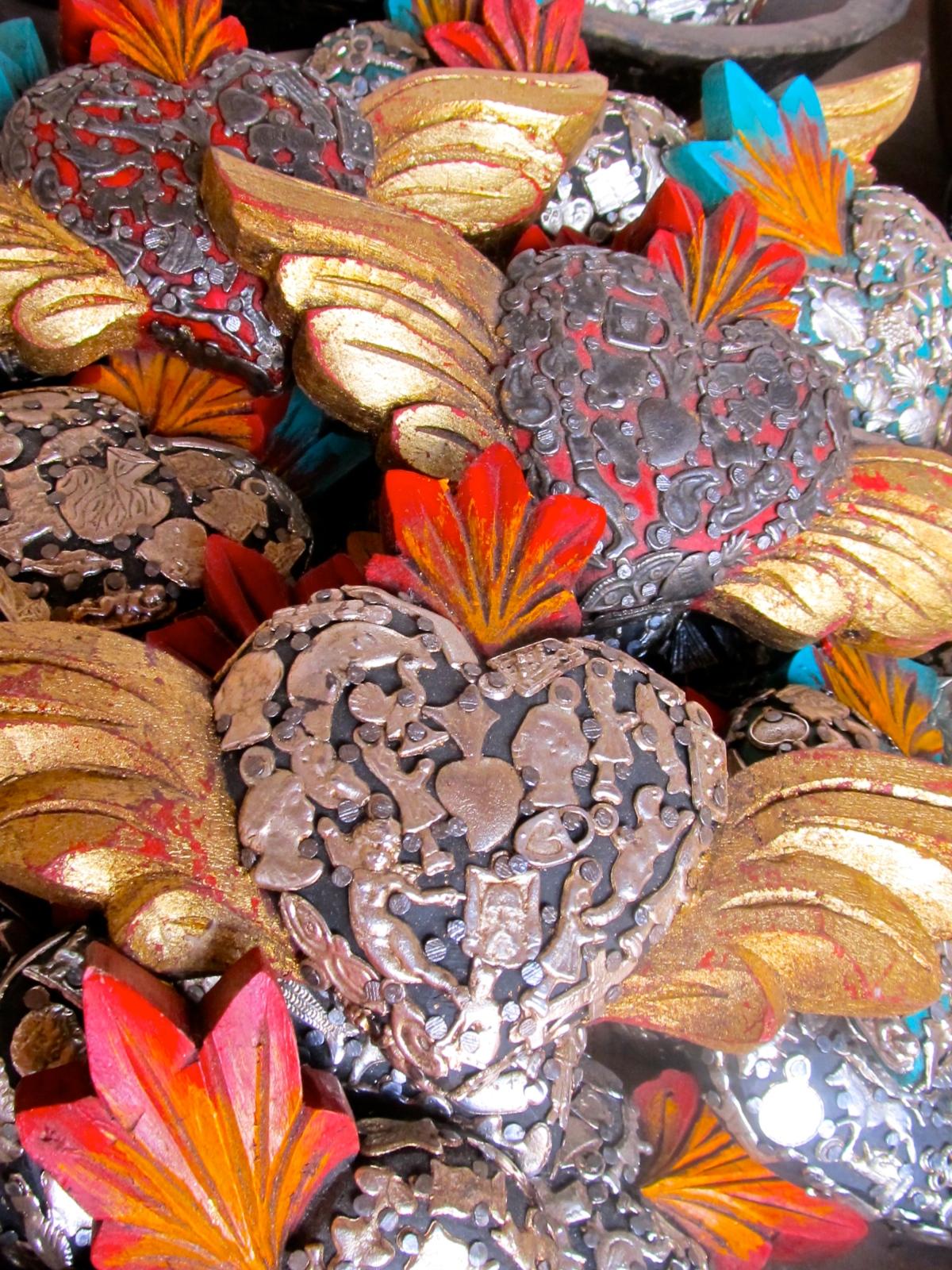 Box of milagro-covered hearts, Santa Fe, NM