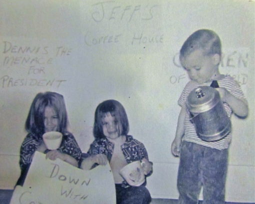 I posted this once before as a Flashback Friday: my sister Chris, brother Jeff and me (in the middle) in a staged photo from our childhood. Coincidentally, Jeff now owns a coffee shop!