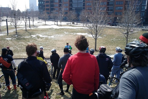 30 Days of Biking Kick-Off Ride: taking our places for the group photo