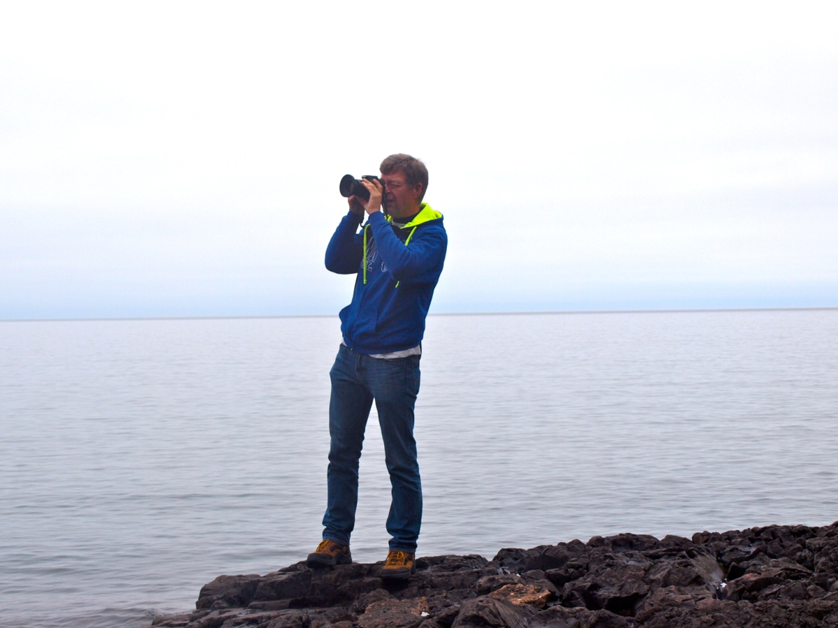 Mike, doing something he loves, Lake Superior.